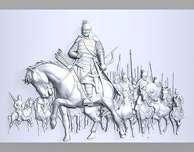 Mongolian medieval warriors bas relief 3D printable model