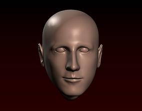 Male head 27 bald head Thin face 3D printable model