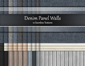 3D Denim Panel Wall Seamless Textures Set