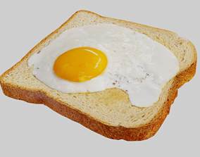 3D asset low-poly Eggs on Toast