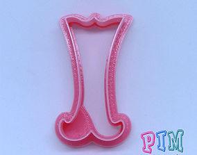 3D print model hand Vintage letter I cookie cutter