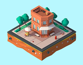 Cartoon Low Poly Brooklyn Small House Building 3D asset