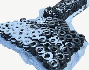 3D model A pile of old car tires Scan