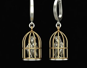 3D print model Gold Cage Earrings
