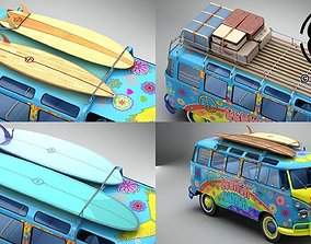 Volkswagen T1 Samba 1963 Hippie Accessories 3D
