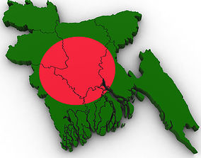 3d Political Map of Bangladesh details