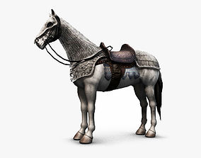 Horse with armor - Lowpoly - 3D model