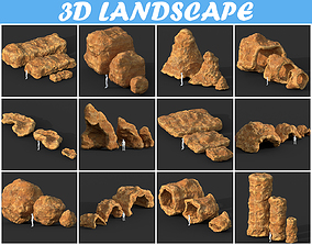 3D model Low poly Cave Modular Yellow Rock Casual