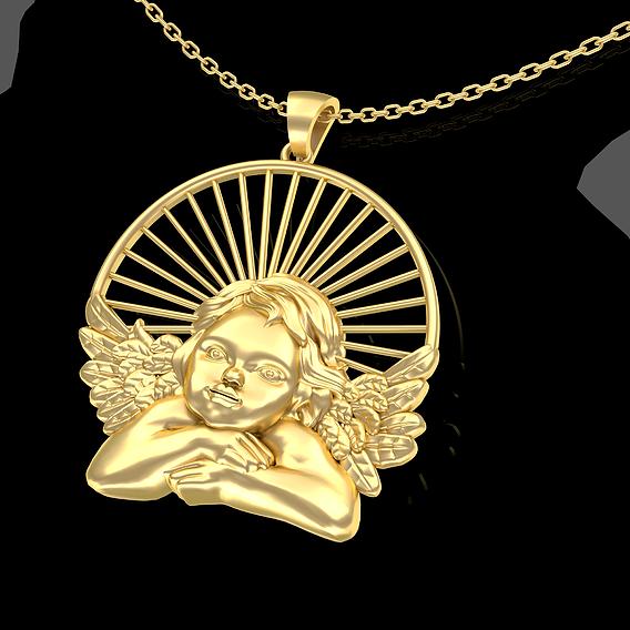 Angel Sun Pendant Jewelry Gold 3D print model