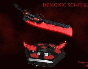 Demonic sci-fi katana 3D asset