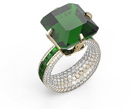 Expensive Ring with emerald 3D print model vintage