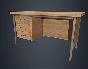 3D model Beech Wood Office Desk - Wood Desk - Office 2