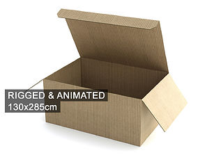 3D model Cardboard Box 130x285cm - Rigged and