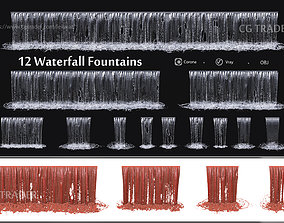 collection waterfall Fountains cascade - 12 3D