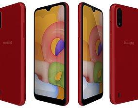 3D Samsung Galaxy A01 Red