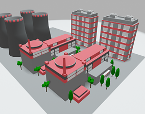 3D model game-ready Nuclear Power Plant