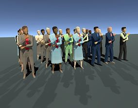 Low Poly Business people with Unity Package 3D model