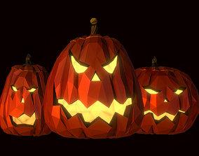 Halloween Pumpkin Jack Evil Gourd Low Poly Art 3D model