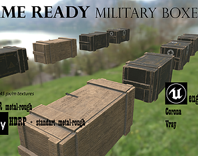 Military supply boxes Ammo boxes 3D asset game-ready