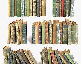 3D old books on a shelf set 11