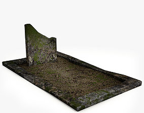 3D asset game-ready Lowpoly Tombstne