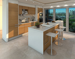 contemporary luxury 3d kitchen modal