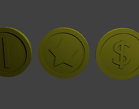 Low-polygon coins 3D asset