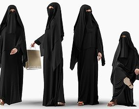 3D model Woman wearing Saudi Arabian hidshab in 4 poses