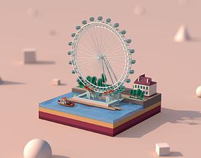 Cartoon Low Poly London Eye Landmark 3D asset