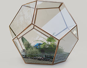 Terrarium with a frog 3D model liquid