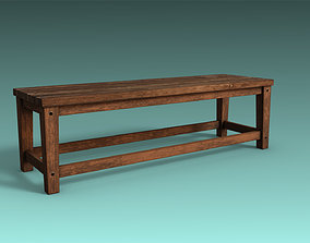 3D asset low-poly old Bench