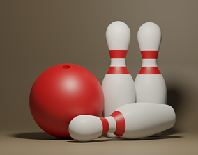 Bowling Ball and Pins 3D model VR / AR ready