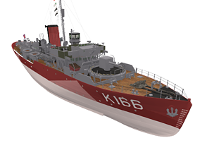 realtime Snowberry Flower-Class Corvette 3D Model