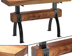 3D Butcher Block Post and Beam Island Table