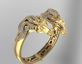horse face precious bangle bracelet 3D print model