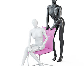 Two female faceless mannequins in a sitting and 3D model 2