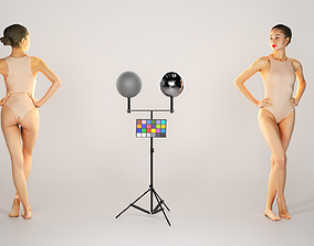 3D model Attractive woman in nude bodysuit posing 223