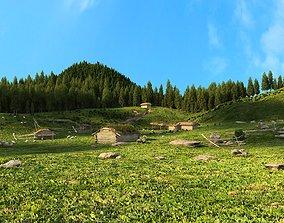 Xizang Qinghai Tibet Plateau grassland Ranch 3D model