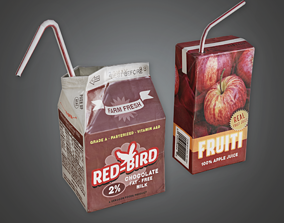 3D model School Drink Cartons - CLA - PBR Game Ready