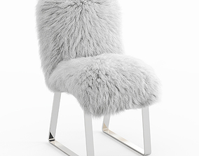 3D model Chair with fur upholstery Mongolian lamb