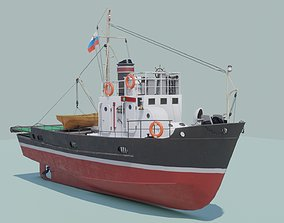 Small fishing seiner MRS-80 3D asset realtime