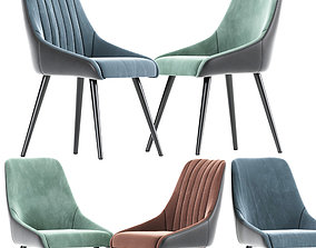 Velvet Upholstered Side Chair 3D