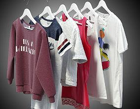 Women clothes of hangers 3D model