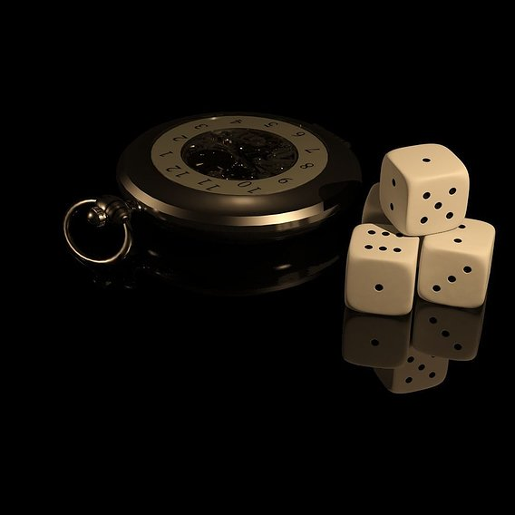 dice and pocket watch