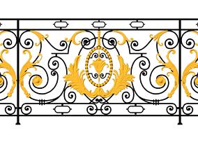 Iron balcony art vintage pattern exterior 3D print model 2