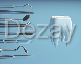 3D Tooth with a dentists tools