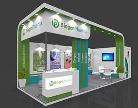 Exhibition stall 3d model 8x3 mtr 2 sides open