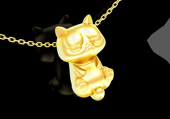 Frowning cat pendant jewelry gold necklace medallion 3D print model
