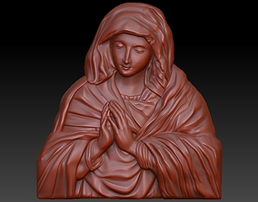 Saint Mary 3D Highly Detailed Bas Relief for 3D Print and