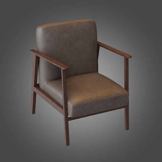 Wooden Armchair Pbr Subdivision Ready Low-poly
